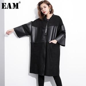 Image 1 - EAM veste grande taille épissée, nouveau col montant à manches longues, manteau femme, mode automne cuir synthétique polyuréthane noir, JC2530