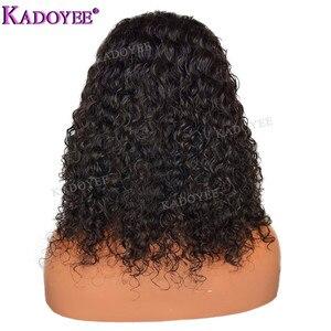 Image 5 - Diepe Krullend Bob Pruik Braziliaanse Kant Voor Menselijk Haar Pruiken Preplucked Gebleekte Knopen Remy Haar 13x4 Front Lace pruik Voor Zwarte Vrouwen