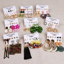 Orecchini LATS Set orecchini geometrici in nappa acrilica in metallo per donna zircone fiore foglie ciondola l'orecchino gioielli di moda regalo ragazza