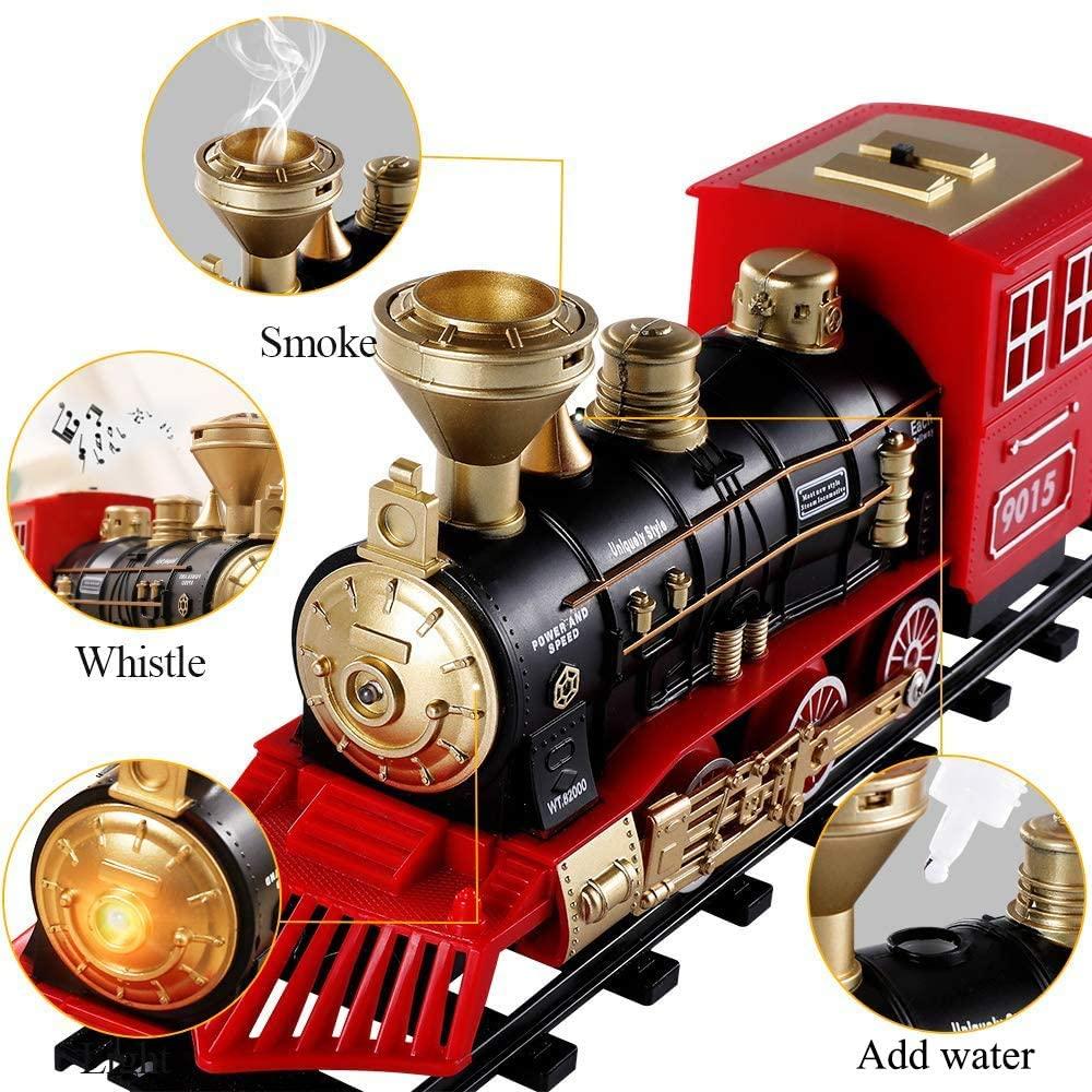 Рождественский поезд, электрическая игрушка с железной дорогой, грузовые и треки, паровой локомотив, модель двигателя, обучающие игрушки для мальчиков, для детей