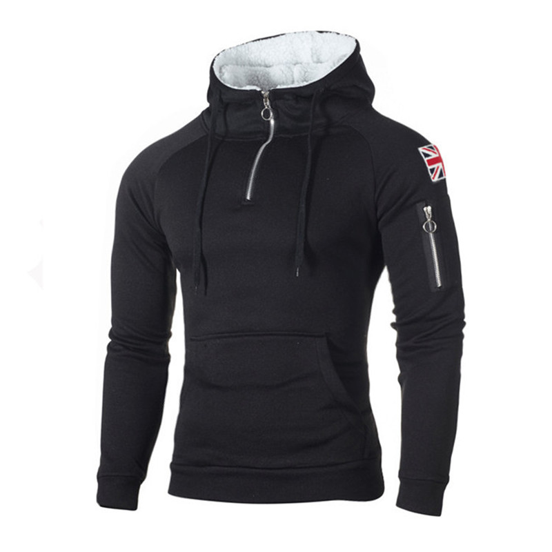 Men's Zipper Hoodies Casual Sweatshirt Mens Autumn Fasion Hooded Thick Hoodies Hip Hop Male Brand Clothing N624