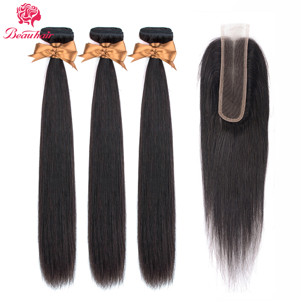 Beauhair Peruvian Straight Wave Bundles With 2*6 Lace Closure Middle Part Non-Remy 2x6 Lace Clousure With Bundles Hair Extension