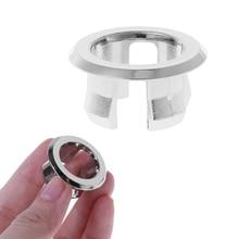 Cocina baño lavabo desbordamiento anillo redondo desbordamiento accesorios anillo plata lavabo inserto agujero cubierta tapa de repuesto