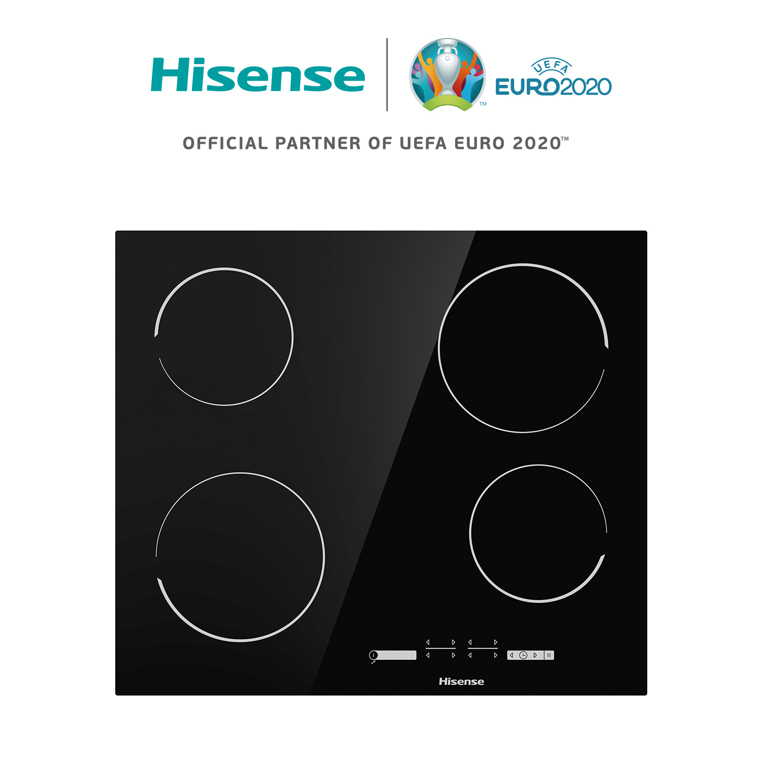 Hisense E6431C Ceramic Countertop, 6000W, 4 Burners, Touch Control, Safety Lock, 59,5 × 5,4 × 52 Cm, Timer