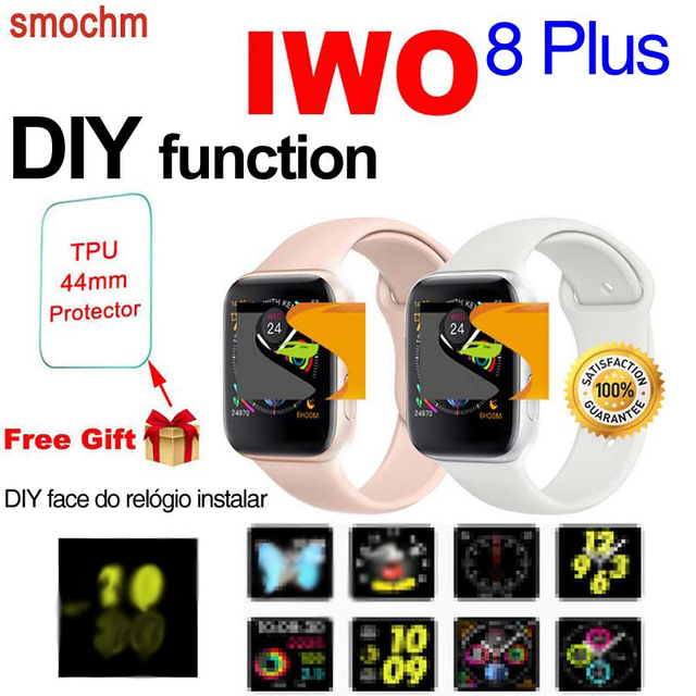 Smochm IWO 8 Plus Wireless Charger 44MM Watch 4 Series Smartwatch MTK2502 Bluetooth Smart Watch DIY updated for Apple Android