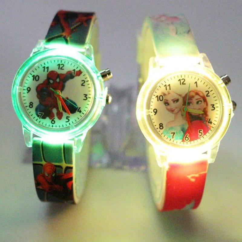 Princess Children's Watch Spider-Man Colorful Light Source Cartoon Boy Watch Girl Kids Party Gift Clock Wrist Relogio Feminino