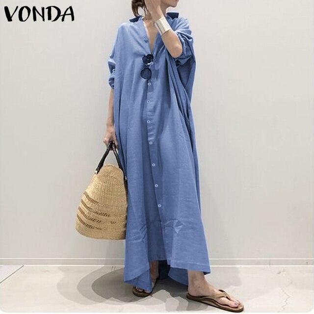 Plus Size Shirt Dress Women's Autumn Sundress 2019 VONDA Vintage Casual Long Maxi Dress Tunic Vestidos V Neck Solid Robe Femme 3