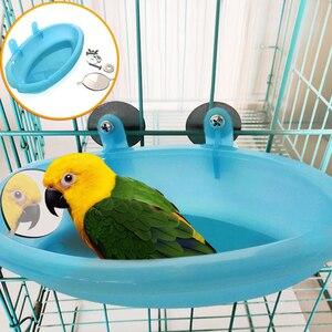 1 pc pássaro poleiro chuveiro pet pássaro banho gaiola com espelho bacia pet pequeno pássaro papagaio chuveiro suprimentos pássaro ferramenta de banho acessórios