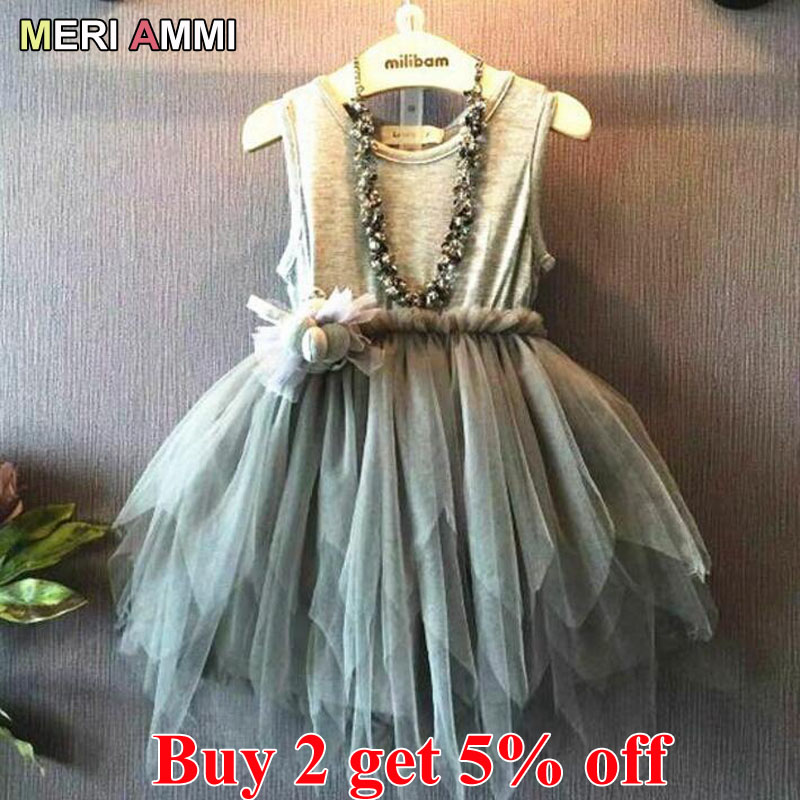 MERI AMMI Children Clothing Sleeveless Dress Flower TuTu Party Dress 2-11 Year Girlnecklace Not Included