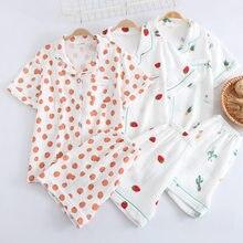 2021 japonês curto-mangas compridas shorts senhoras puro algodão dupla camada gaze pijamas terno bonito simples confortável pijamas terno feminino