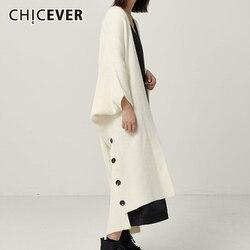 CHICEVER, корейский вязаный женский свитер, v-образный вырез, рукав летучая мышь, Длинные свободные кардиганы, женские свитера, осенняя мода, нов...