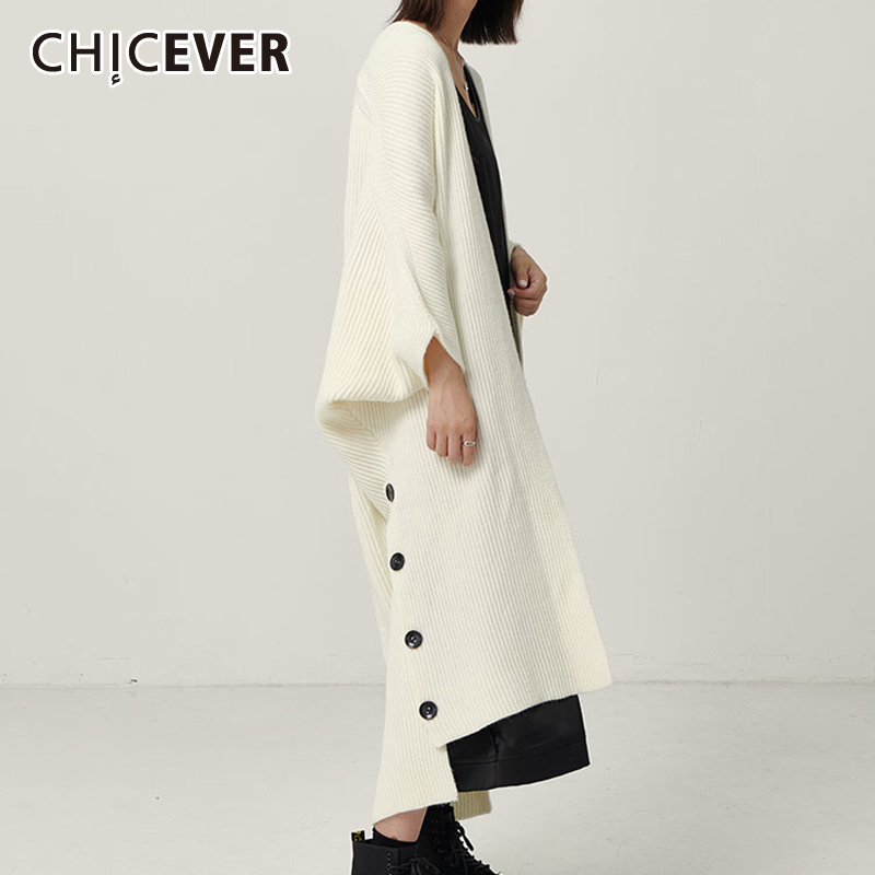 CHICEVER Korean Knitting Women's Sweater V Neck Batwing Sleeve Long Loose Cardigans Female Sweaters Autumn Fashion New 2020