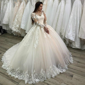 Image 1 - свадебное платье 2020 Lace Appliques Tulle  Long Sleeves Wedding Dress Buttons Lace Up Back Custom Made Plus Size Bridal Gowns