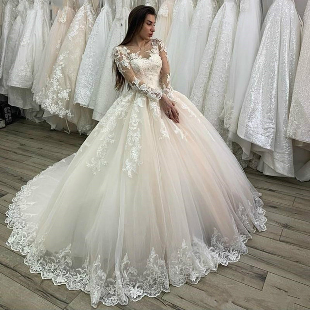 свадебное платье 2020 Lace Appliques Tulle  Long Sleeves Wedding Dress Buttons Lace Up Back Custom Made Plus Size Bridal Gowns