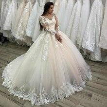 Tüll Hochzeit Kleid 2020 mit Spitze Appliques Tasten Spitze Up Zurück Sheer Neck Maß Plus Größe Langen Ärmeln Braut kleider