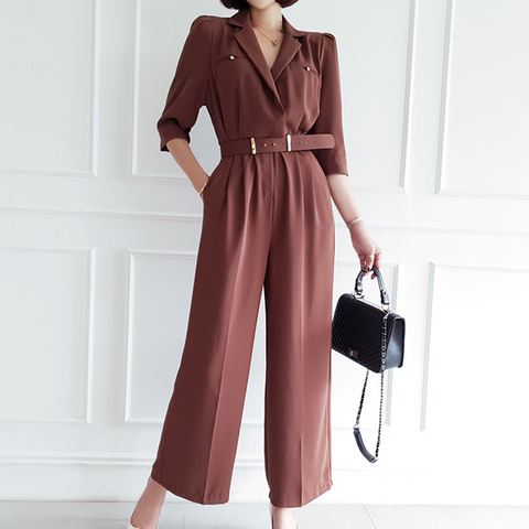 Office Lady Elegant Wide Leg Jumpsuits Women Autumn  Rompers Belted Waist  Playsuits Long Pants Overalls Islamabad