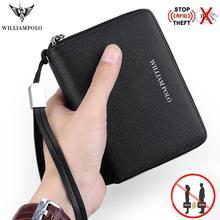 цена WILLIAMPOLO RFID Men Wallet Accordion Credit Card Holder Genuine Leather Mini Multi Card Case Organizer Zipper wallets slim 2019