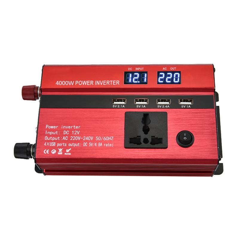 4000w 5000w 6000w DC 12V 24V To AC 220V Car Power Inverter Charger Multi-protection Converter Interfaces Transformer