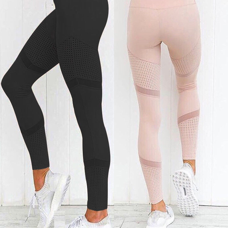 New Women High Waist Solid Patchwork Sport Mesh Yoga Workout Gym Fitness Leggings Ladies Athletic Pants S~ XL