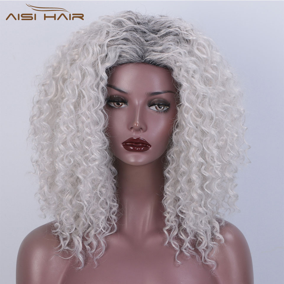I's A Wig Synthetic Short Grey Wigs Afro Kinky Curly Wig For Women Brown Wigs High Temperature Fiber