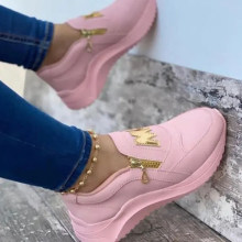 Women Sport Shoes Thick Bottom Solid Ladies Vulcanized Sneakers Casual Wedges Slip On Zipper Shoes Women Platform Sneakers