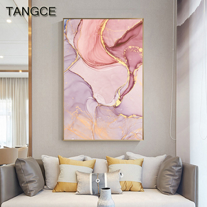 Nordic Purple Pink Canvas Painting Modern Home Gold Poster and Print Wall Picture for Living Room Abstract Scandinavian Wall Art
