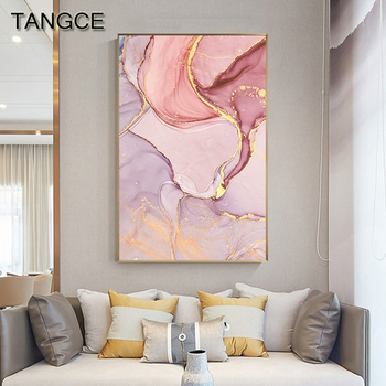 Nordic Purple Pink Canvas Painting Modern Home Gold Poster and Print Wall Picture for Living Room Abstract Scandinavian Wall Art dancing butterfly abstract canvas painting wall art poster and print scandinavian decorative picture modern home decoration