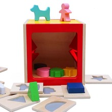 Kids 3D Wooden Puzzle Blind Box Puzzle Intelligence Hand Brain Enlightenment Toy Touch Wooden Toy kids intelligence toy dancing stand colorful rocking giraffe wooden toy
