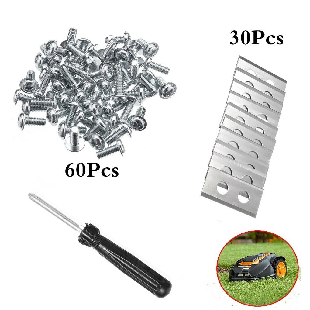 Replacement For Worx Landroid Mower Robot 30PCS Steel Spare Inserts 0.9MM + 60PCS Screws + 1PCS Screwdriver