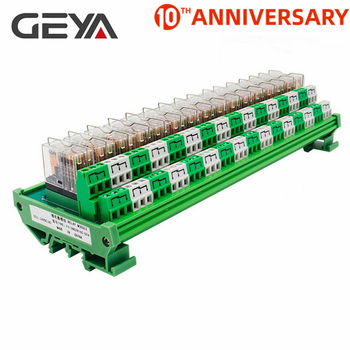 GEYA 2NG2R 16 Channel Omron Relay Module  PLC 2NO 2NC 12VDC 24VDC DPDT Relay Replaceable 100% authentic original omron capacitive proximity switch e2k x8me1 2m 12 24vdc