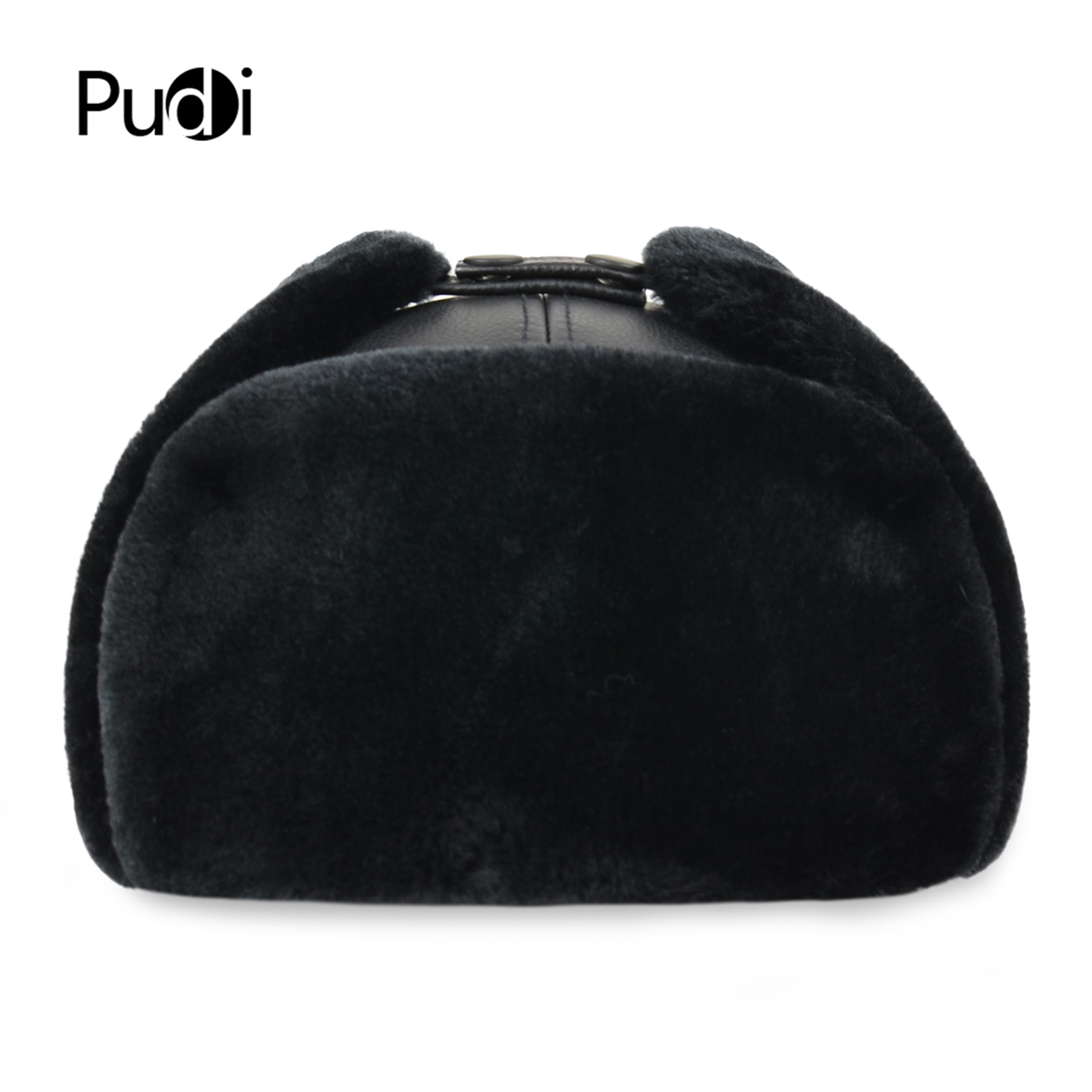 HL074 Genuine Cow Skin Leather Men's Bomber Hats With Ear Flap Russian Winter Faux Fur Earmuffs Caps  Brown Black Colors