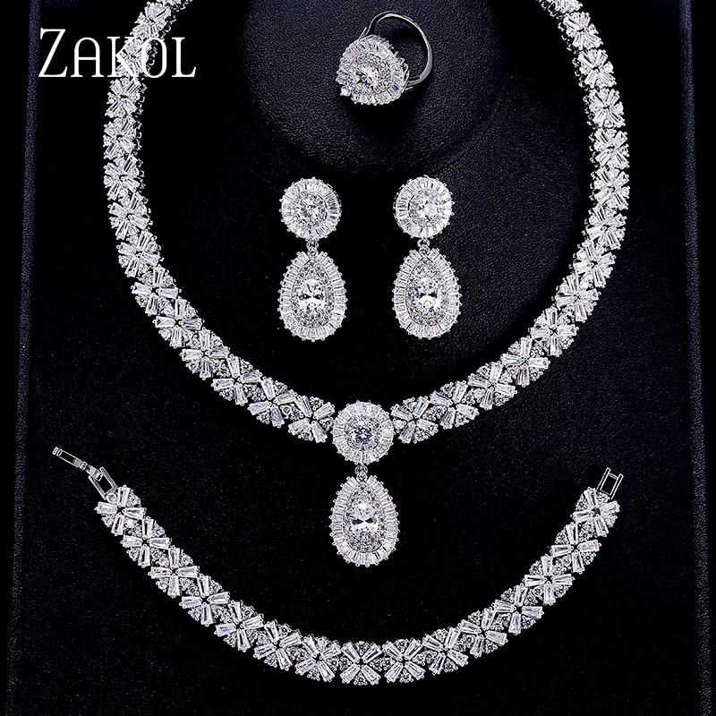 ZAKOL Luxury Zircon Bridal Wedding Jewelry Sets Exquisite Zirconia Necklace/ Earrings/ Ring/ Bracelet Full Set For Women FSSP312