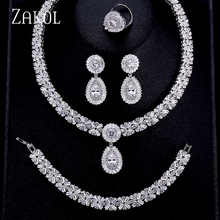 ZAKOL יוקרה זירקון כלה חתונת תכשיטי סטי מעודן Zirconia שרשרת/עגילים/טבעת/צמיד מלא סט לנשים FSSP312