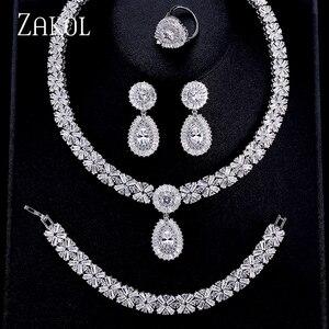 Image 1 - ZAKOL ensembles de bijoux de mariage en Zircon exquis, collier, boucles doreilles, bague ou Bracelet complet pour femmes, FSSP312
