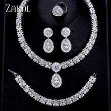 ZAKOL luksusowa cyrkonia biżuteria ślubna dla nowożeńców zestawy wykwintne naszyjnik z cyrkonią/kolczyki/pierścień/bransoletka pełny zestaw dla kobiet FSSP312