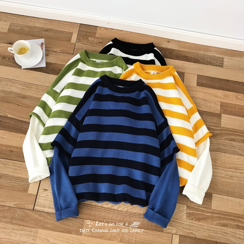 Winter Sweater Men Warm Fashion Contrast Color Casual Fake Two-piece Pullover Street Wild Loose Striped Sweter Male Clothes