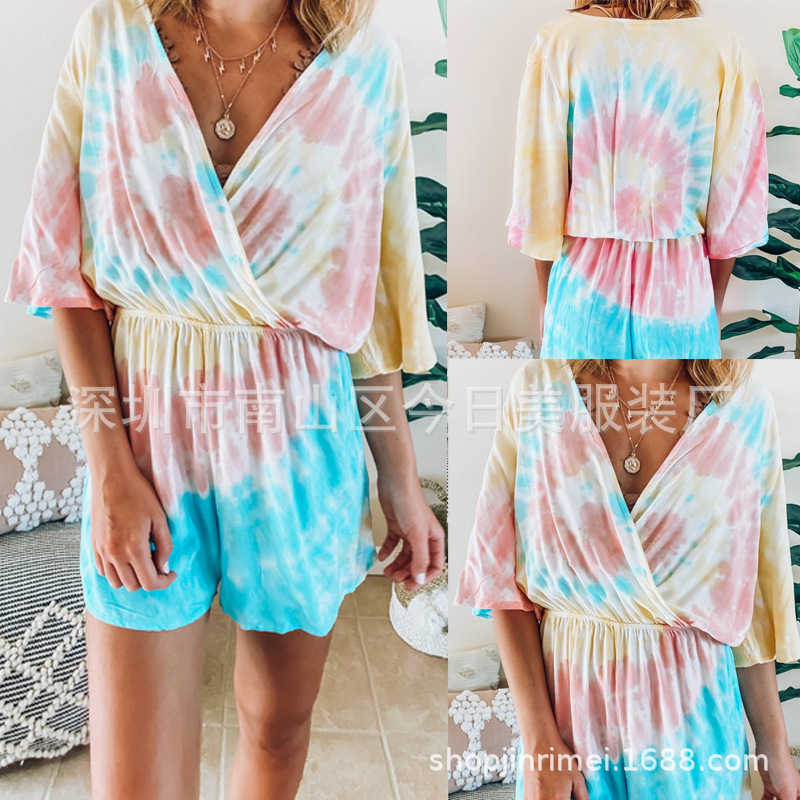 WEPBEL Women Playsuit Short Sleeve Loose New Summer Casual V-neck Elastic Tie-Dye Jumpsuit Shorts Female Playsuits