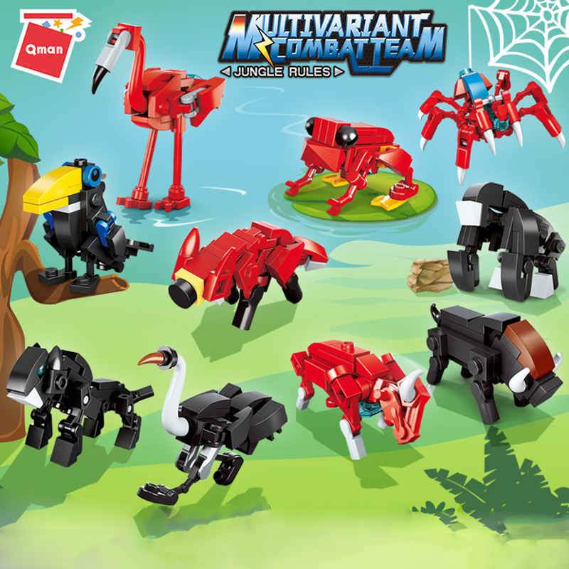Qman 2103 Multivariant Combat Team Jungle Rules Frog Poison Spider Flamingo Model Bricks Animal Friends Figures Building Blocks
