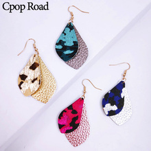 Cpop Multilayer Glitter Genuine Leather Feather Earrings Leaf Leopard Earring Fashion Women Jewelry Hot Sale Accessories Gifts