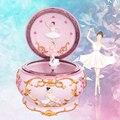 Romance adolescente bailarina dança menina caixa de música lago cisne luminosa caixa musical casamento natal para namorada presente decoração da sua casa