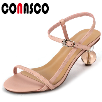 CONASCO 2020 Summer New Fashion Concise Casual Women Sandals Pumps Genuine Leather Narrow Band Cross-Tied High Heels Shoes Woman