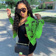 Letter Print Neon Green Sexy Jacket Women Long Sleeve Notched Pockets Button Up