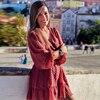 2020 Summer Women Ruffles Lace Chiffon Dress Boho Mini Beach Dress Three Quarter Sleeve Ladies Party Dresses Vestido 2