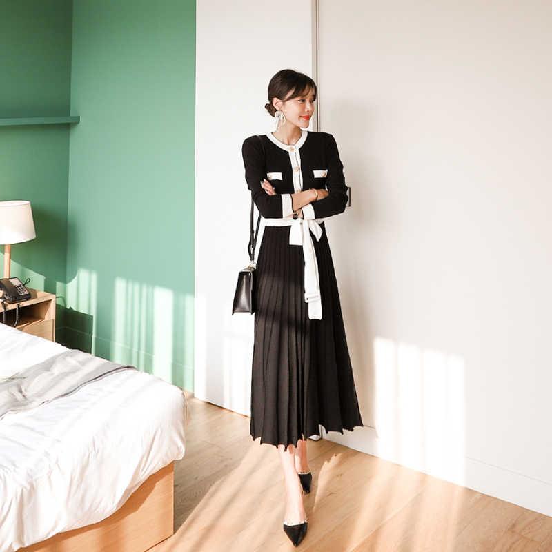 משלוח חינם באיכות גבוהה חדש הגעה O צווארון Slim סקסי נשים שמלת סריגה שמלה