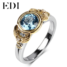 EDI 자연 블루 토파즈 925 스털링 실버 18k 옐로우 골드 약혼 반지 여성 천사와 악마 날개 파인 쥬얼리