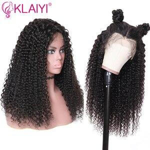 Image 2 - Klaiyi saç kıvırcık saç dantel ön peruk 13*6 inç brezilyalı Remy saç ön 150% yoğunluk insan saçı peruk 10  24