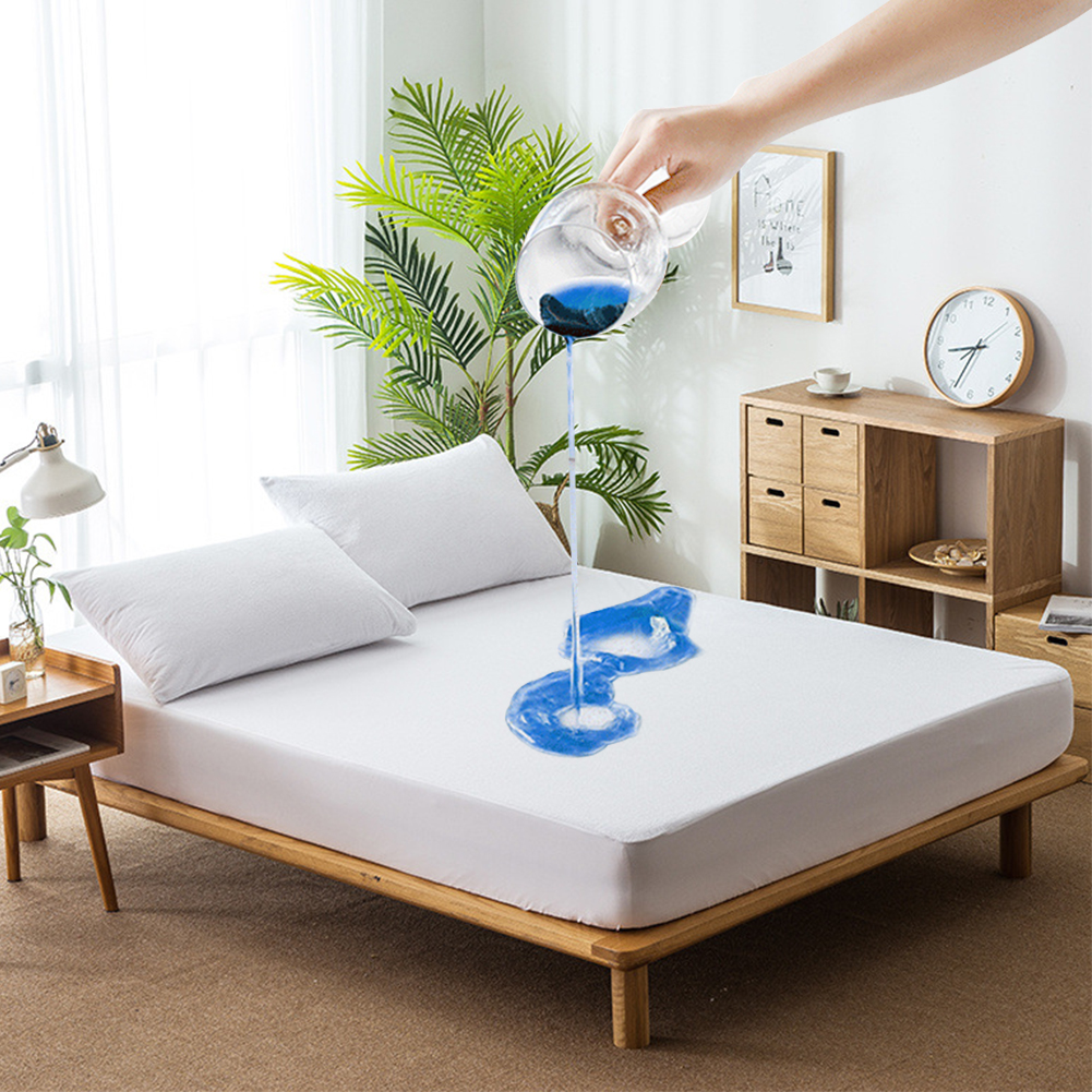 Soft Waterproof Bed Sheet Fitted Mattress Pad Protector Cover Sheet Topper With Band Bed Single Double King Size Pad Coverd