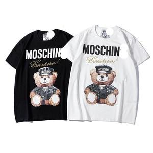 Marca de luxo Urso Camisetas de Verão das Mulheres Soltas Camisetas 100% Algodão Casais Casual Menina Yong Homens Tops