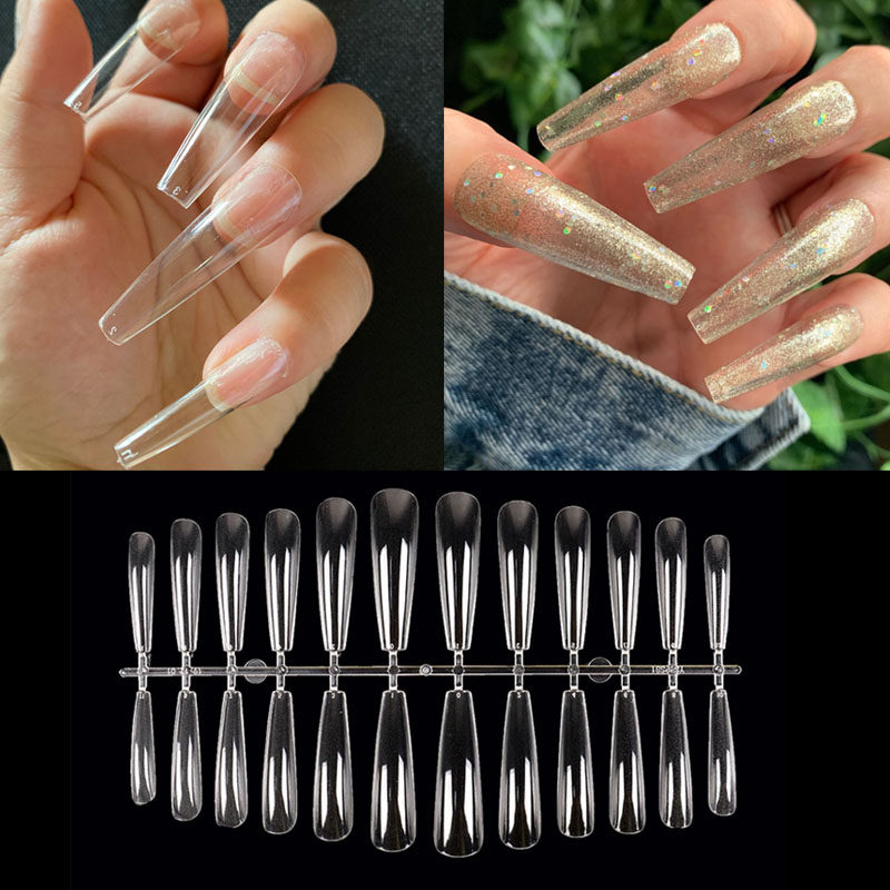 XXL Extra Long Tapered Coffin False Nail Tips Full Cover Nails Fake Tip Press On Salon Manicure Supply