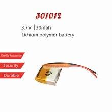 1 pc 3.7 v 30 mah li-ion bateria 301012 bateria recarregável de polímero de lítio para mp3 mp4 bluetooth fone de ouvido led gravador de luz
